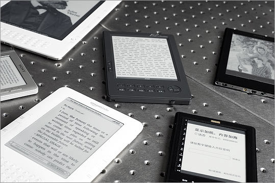 On the small screen Amazon's Kindle is one of 40 electronic readers using E-Ink technology.