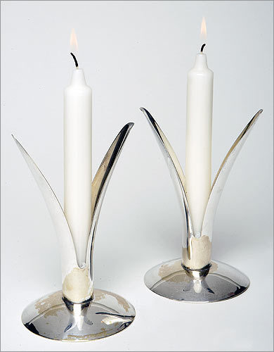 Hingham Dealer/designer Peter Levis curates an eye-catching collection that focuses on mid-century modern but also explores earlier times. Vintage Alfred Sciarotta silver candle holder, $95 at Beyond Gorgeosity, 234 North Street, 781-740-4770, beyondgorgeosity.com