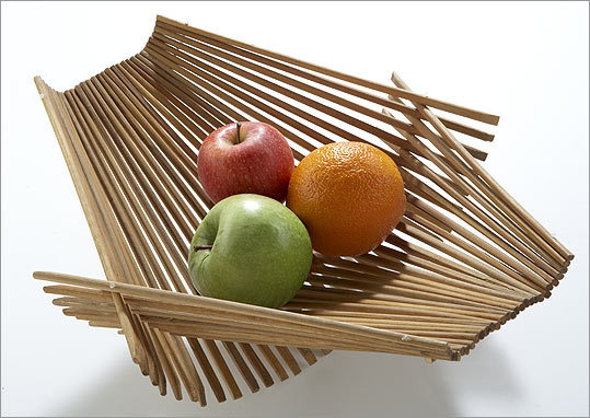 Inventive home accessories are stylish second acts for elements that would otherwise have gone to waste. Kwytza Chopstick-Art Folding Basket made of used (sterilized) chopsticks, $24.95 at the ICA Store, 100 Northern Avenue, Boston, 617-478-3100, icaboston.org