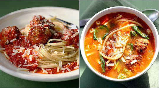 Ground turkey makes a leaner plate of spaghetti and meatballs. The next day, add chicken stock, ditalini, sauteed vegetables, and fresh spinach to make a traditional Italian wedding soup.