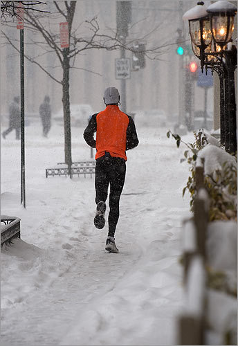A man jogged in the snow in Washington.