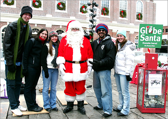 Dec. 23 in Boston From left: Ryan Casey, Deb Opar, Haley Marcoux, Aaron Tolson, and Carolyn Glicklich, members of the New England Tap Ensemble, set up tap boards and performed in Faneuil Hall to help raise money for Globe Santa. Learn more Make a donation