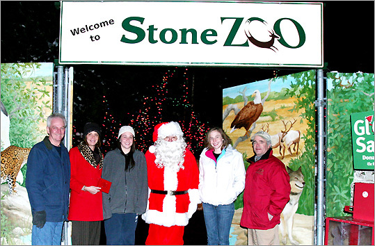 Dec. 21 in Stoneham From left: Gerry, Wendy, Becca, and Molly McSweeney with Stone Zoo General Manager John Linehan, all around Globe Santa (center). The McSweeneys made a donation to Globe Santa, which came with a story titled 'The Loose Change in the Laundry Fund.' Learn more Make a donation
