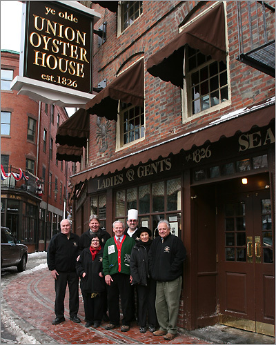 Dec. 23 in Boston James P. Malinn, Troy Thissel, Pattie Burke, Globe Santa director William F. Connolly, Jr., John Glufling, Mary Ann Milano-Picardi, and Joe Milano posed for a photo at the Union Oyster House. Learn more Make a donation