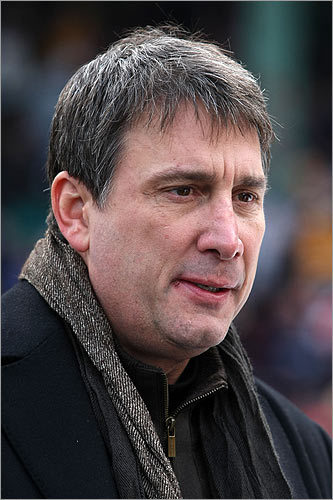 Vice President of the Boston Bruins and former player Cam Neely looks on before the game.