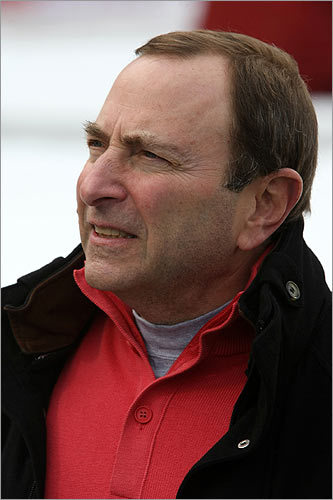 NHL Commissioner Gary Bettman takes in the Fenway scene.