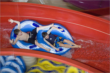 Sometimes the best winter fun is a taste of summer. With a water park heated to 82 degrees year round, Kahuna Laguna offers warm-weather fun with a three-story slide tower (two body slides, two tube slides), wave pool, super-sized hot tub, water cannons, rope bridge, and water-based basketball court. The 'Little Kahuna' area is suited for the smallest visitors (under 48 inches) with a 9-inch-deep pool, smaller slides, water toys, and baby bouncers. There are height restrictions: 48 inches for body slides, 42-48 inches for raft slides. A snack bar and arcade make the 40,000-square-foot site a full-service fun park - all part of Red Jacket Mountain View Resort. 2251 White Mountain Highway (Rte. 16), 603-356-5411, kahunalaguna.com , Monday-Thursday 3-9 p.m., Friday noon-10, Saturday 8:30-10 a.m., 11 a.m.-10 p.m., Sunday 8:30-10 a.m., 11 a.m.-9, extended hours during school vacation weeks and on holidays, resort registered guests $20, nonregistered visitors $40, locals with ID $30, age 2 and under free. Shira Springer can be reached at springer@globe.com.