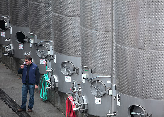 Gary Sitton, chief winemaker and general manager, checks a wine's progress from vats at Blackstone's facility in Kenwood, Sonoma County, Calif.