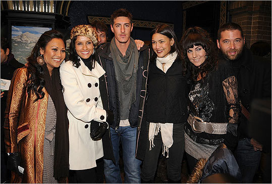 "One of Jones's first big breaks was the Quentin Tarantino-produced 2008 movie ""Hell Ride."" Jones (third from right) attended the Sundance Film Festival that year with ""Hell Ride"" castmates (from left) Cassandra Hepbur, Leonor Varela, Eric Balfour, Andrea Fellers, and David Grieco."