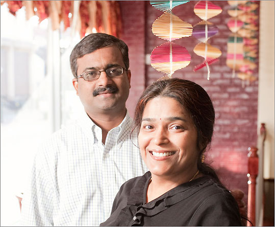 Meenakshi Kumar and her husband, Sravan, at Meena's Kitchen, where all the food is vegetarian.