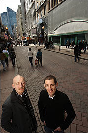 Derek Cascio (left) and Sam Aquillano in Downtown Crossing.