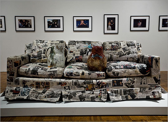 It's unfair, perhaps, to single out offenders, but Jessica Jackson Hutchins's contribution, 'Couch for a Long Time,' is, in its own peculiar way, characteristic. It's a couch, from the artist's living room, that has been covered in every newspaper article about President Obama the artist has encountered. Several glazed ceramics – vessels and abstract shapes -- sit in apparently random positions on the seat of the couch. That's it.