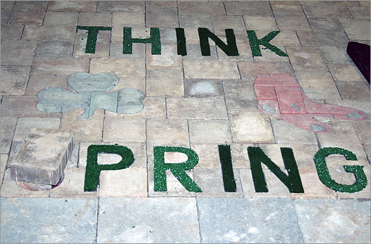 Get ready for Red Sox season, by dressing up your driveway like this display from Chris Miller Brick Paver Installer.