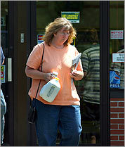 Hard math Angela Platt (shown in 2006) was charged by federal prosecutors with embezzling $6.9 million from John Ferreira. He now gets a check from her for about $22 a month.