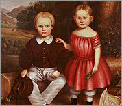 'Portrait of a Young Brother and Sister' (detail), attributed to Isaac H. Keeley, is part of 'Kin and Kindred: Reflection on Childhood, 'at Smith College Museum of Art.