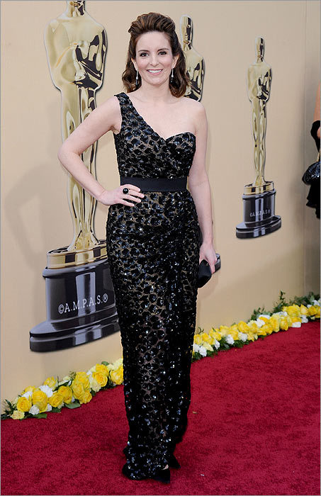 In glorious style... Tina Fey Yes, she's included in this list because she's one of my favorite funny ladies. But she was also most-improved on the red carpet in this sparkling Michael Kors gown.