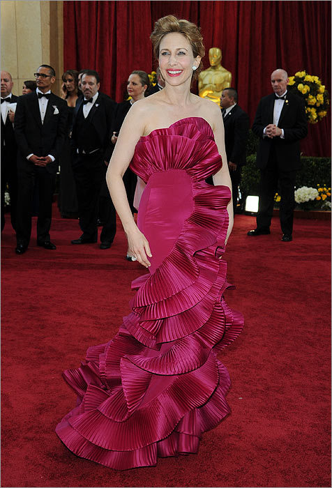 In glorious style... Vera Farmiga The ''Up in the Air'' star made a smart choice in the pleated ruffles of this Marchesa gown. By choosing color, she also stood out on the crowded carpet.