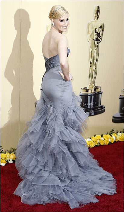 Local girl Elizabeth Banks , in glamorous gray Versace, managed to stand out as well.