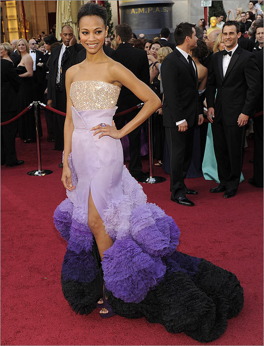 Not so precious... Zoe Saldana The ''Avatar'' star's purple ombré ruffles, courtesy of Givenchy, gave the actress the appearance of being a giant feather duster rather than a red-carpet starlet.