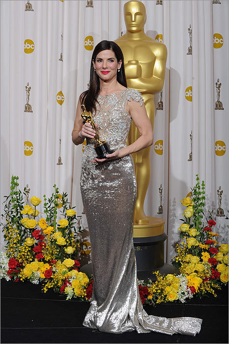 Sandra Bullock in Marchesa at the Oscars on March 7, 2010, in Los Angeles.
