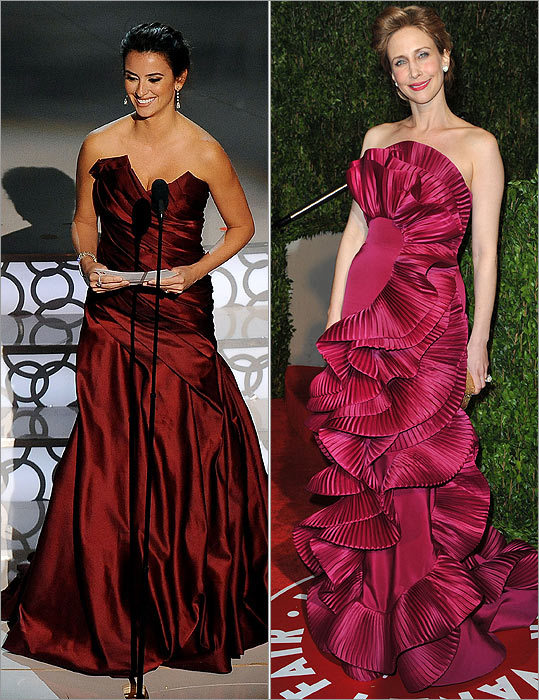 It was easy to declare that last night's Oscar ceremony - sartorially speaking, at least - was whitewashed. The red carpet was flooded with pale, delicately colored frocks of cream, gray, sand, or iridescent pink, as well as, of course, standard black. There were a few brave souls (thank you Penélope Cruz (left) and Vera Farmiga ), but overall, actresses shunned the rainbow this year.