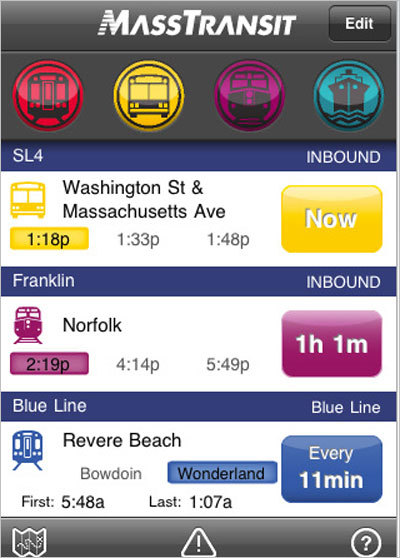 You're going to have to wait how long for the next train? With the MassTransit app, you can have quick access to all of Boston's subways, buses, commuter rails and ferries with every schedule at your smartphone-loving finger tips. Find out when the next T is approaching before you leave the house, or, as the case may be, how many minutes you'll miss the next one by when leaving the office. Cost: $3.99