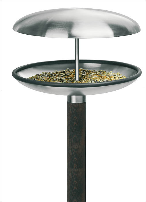 Fuera bird feeder Help the finches and chickadees enter the space age with this ultrachic bird feeder from Blomus. True, the birds may not care what the feeder looks like, but there's no reason why you should be stuck with a dowdy, boxy bird feeder taking up space in your garden. It's available for $131.50 at Lekker Home in the South End, www.lekkerhome.com .