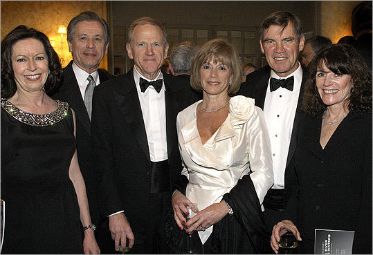 March 27 in Boston From left: Kathleen McGillycuddy of Newton and her husband, Ron Logue, chairman of the board of State State Corp., with honored guest Chuck Clough Jr., chairman and CEO of Clough Capital Partners, and his wife, Gloria, of Concord, and Ted Kelly, chairman, president, and CEO of Liberty Mutual Group, and his wife, Debbie, of Weston.