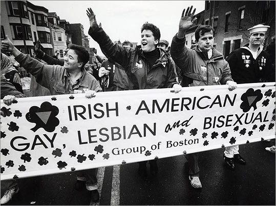 This group marched in 1993 despite efforts by the organizers of the St. Patrick's Day Parade to try to ban them from marching. In 1995 The U.S. Supreme Court ruled that organizers can ban the gay marchers.