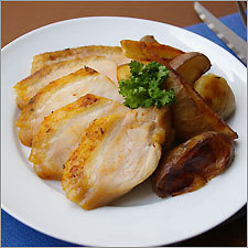Roast turkey breast with root vegetables