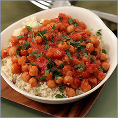 Chickpea and tomato ragout with couscous