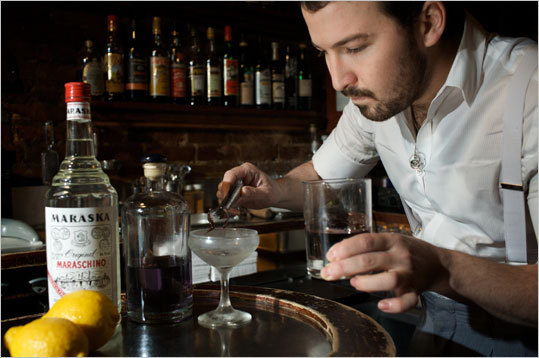 Bartender Sam Ross prepares The Aviator at Milk & Honey, the sister joint to Little Branch in the West Village.