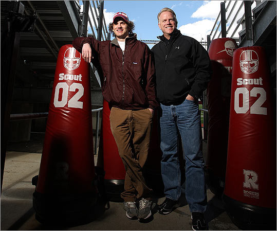 Gunnar Esiason, who has cystic fibrosis and is now a freshman at Boston College, with his famous football dad, Boomer, at BC's Alumni Stadium recently.