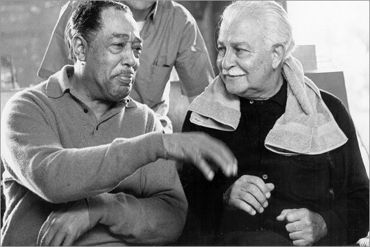 Duke Ellington (pictured with Arthur Fiedler) made his way to Tanglewood in 1965.