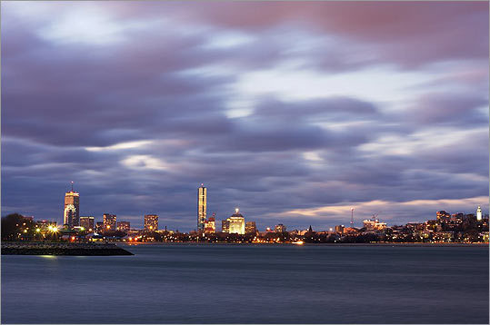 'This photograph was taken from the JFK Library on a cold and windy evening last November. It was taken just as the light was fading out ... the passing clouds and the longish exposure give the picture a very dramatic effect,' writes Ankur Agrawal of Somerville.