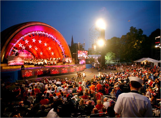 Formed in 1881 by Boston Symphony Orchestra founder Henry Lee Higginson, the Boston Pops performances were intended to be performed in the summer and were to be 'concerts of a lighter kind of music,' according to the BSO. Pictured: The annual July 4 concert at the Hatch Shell draws a large crowd of concertgoers, many of whom camp out overnight.