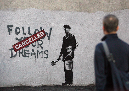 New street art has been discovered in Chinatown and some believe it's the work of the notorious satirical street artist Banksy, whose film 'Exit Through the Gift Shop' is currently in theaters. Pictured: Could this be the work of the elusive British graffiti artist in Chinatown?