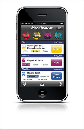 MassTransit Provides easy-to-use Greater Boston bus, T, commuter rail, and even ferry schedules and locations. Does not alert users when a train or bus is going to be late. WORKS WITH iPhone COST $3.99 INFO masstransitapp.com