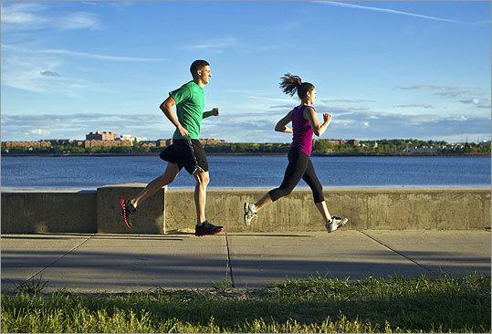 Army veteran Jonathan Zagami and his sister, Jaime, run in South Boston.