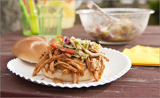 Pulled pork sandwiches with spicy slaw.