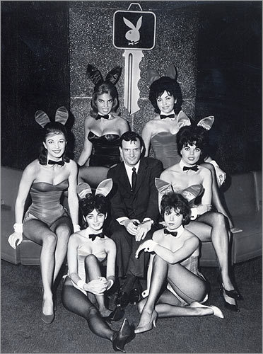 Playboy Bunnies This famous franchise has dressed up its models in bow ties, cuff links, and rabbit ears for more than 50 years, as evidenced by this photo of magazine founder Hugh M. Hefner surrounded by Playboy Bunnies in the early 1960s. Fun fact: the Playboy Bunny costume is the first services uniform ever granted registration by the United States Patent Office.