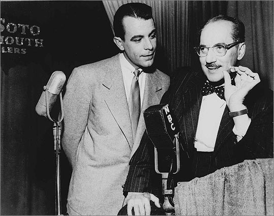 Groucho Marx The funnyman (right, with sidekick George Fenneman) made the bow tie a permanent part of his image during his five-decade career starting in the 1920s.