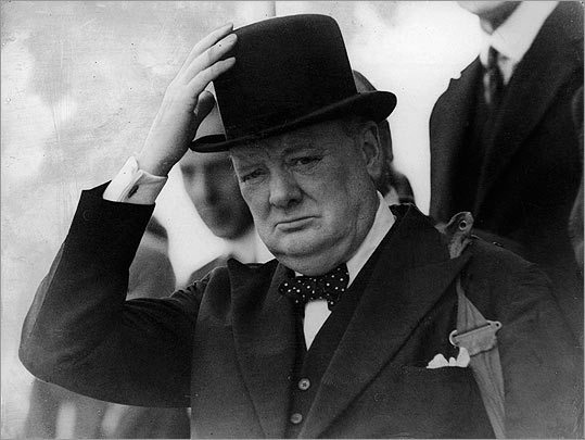 Winston Churchill An avid bow tie wearer, Britain's World War II leader served as the inspiration for the Blenheim -- a navy bow tie with white polka dots named for his birthplace and taken from his favorite look.