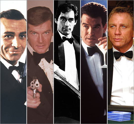 James Bond It doesn't matter who's suiting up as 007. The suit -- or more accurately, the bow tie -- is always a part of the look. From left: Sean Connery (1963), Roger Moore (1973), Timothy Dalton (1987), Pierce Brosnan (1995), and Daniel Craig (2006).