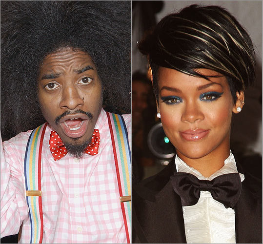 Andre 3000 and Rihanna From left: The Outkast rapper and the pop singer are part of a raft of celebs tying on bows in the last few years. Others include soccer stud David Beckham, hip-hop hero Pharrell Williams, and more ladies like Gwen Stefani.