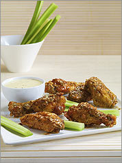 HOT WINGS Soy sauce and Dijon mustard give fried chicken plenty of flavor.
