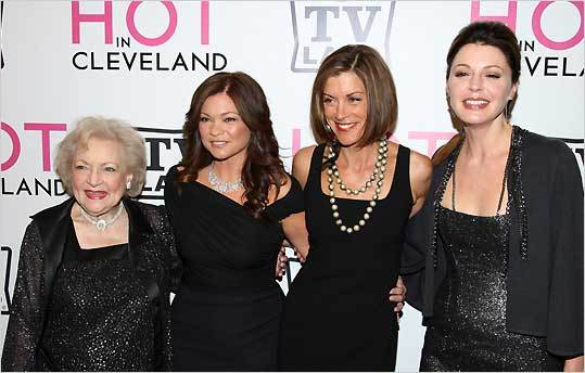 From left: Actors Betty White, Valerie Bertinelli, Wendie Malick and Jane Leeves attend the TV Land screening of 'Hot in Cleveland' in New York, June 14, 2010.