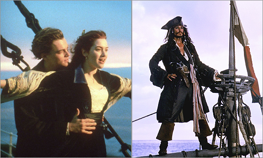 FAVORITE SHIP Leonardo DiCaprio played Kate Winslet's doomed love interest Jack in 'Titanic' (left) while Johnny Depp was aboard the Black Pearl as Captain Jack Sparrow in the 'Pirates of the Caribbean' movies.