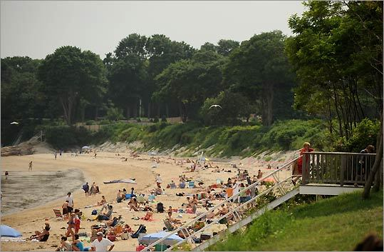 Beachgoers at Singing Beach in Manchester-by-the-Sea.