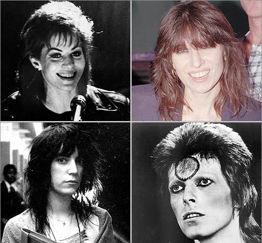 Rock acts born of the '70s The 1970s burgeoning punk and rock scenes were fertile for female mullets -- and for androgynous rock star mullets. Joan Jett (upper left) of the Runaways, Chrissie Hynde (upper right) of the Pretenders, and Patti Smith (lower left) all gave the mullet cool points. But don't discount the influence of David Bowie and his character in the 1973 documentary film 'Ziggy Stardust and the Spiders From Mars.'